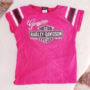 Harley-Davidson Girls Pink Glitter Graphic T-shirt